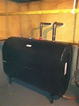 Granby Steel 275 gallon oil tank installed in basement.