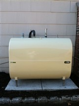 Granby Protec 20 275 gallon oil tank installed on concrete slab